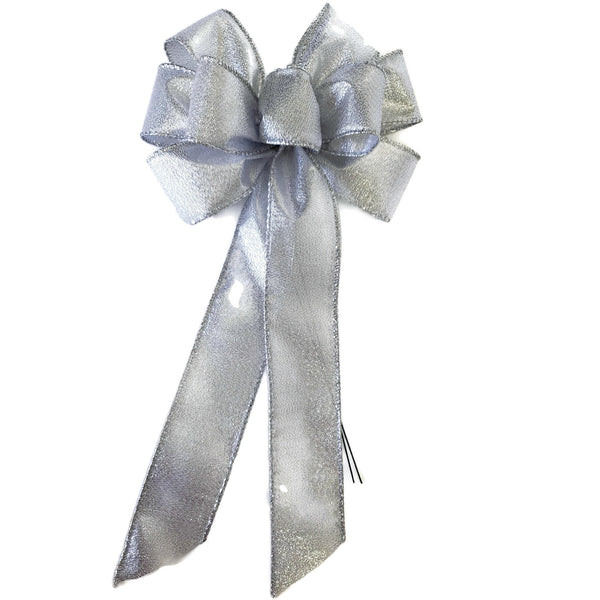 "SMALL 5-6"" Wired Metallic Silver Christmas Bow"