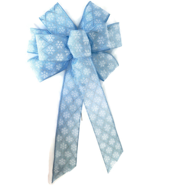 "Large 9-10"" Light Blue and White Snowflake Wired Christmas Bow"