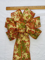 "Large 9-10"" Orange Oak Leaf Wired Wreath Bow"