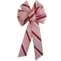 "10"" Large Red & White Stripe Wired Christmas Bow"