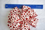 "10"" Wired Red And White Hearts Valentine's Day Bow"