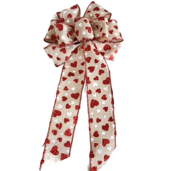 "Small 5-6"" Wired Red & White Hearts on Natural Linen Bow"