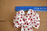 "Small 5-6"" Wired Red & White Hearts on White Bow"