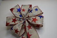 "10""  Wired Glitter Stars on Natural Linen Wreath Bow"