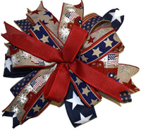 "15"" Wired Multi-Ribbon Patriotic Wreath Bow"