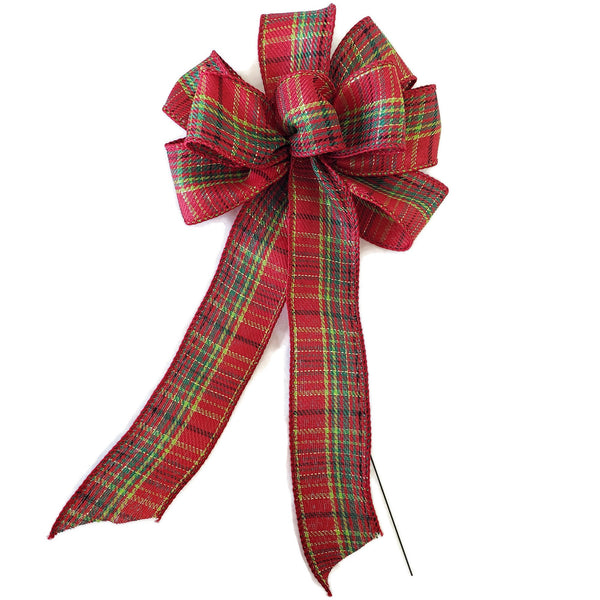 "SMALL 5-6"" Wired Red, Green & Gold Plaid Christmas Bow"