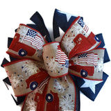 "10""  Wired 2-Ribbon Patriotic Wreath Bow"