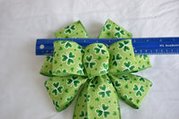 "10"" Wired St. Patrick's Day Bow with Glitter and Shamrocks"