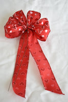 "Small 5-6"" Wired Red & Pink Hearts Bow"