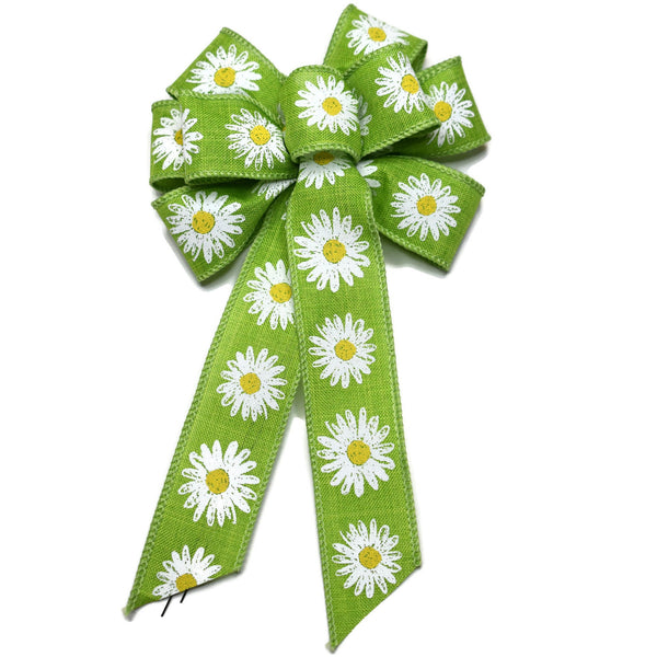 "Small 5-6"" Wired White Shasta Daisy on Green Linen Bow"