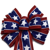 "Small 5-6"" Hand Made Wired Red, White & Blue Star Bow"