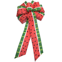 "10""  Wired Watermelon Wreath Bow"