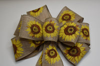 "10""  Wired Sunflower on Natural Linen Wreath Bow"