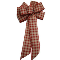 "10"" Wired Red Natural Check Bow"