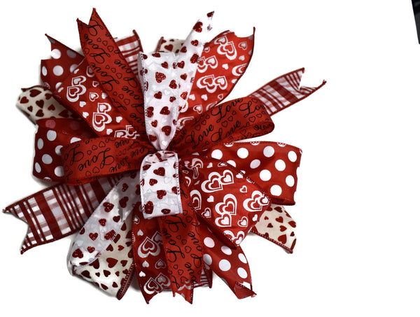 "15"" Wired Multi-Ribbon Valentine's Day Wreath Bow"