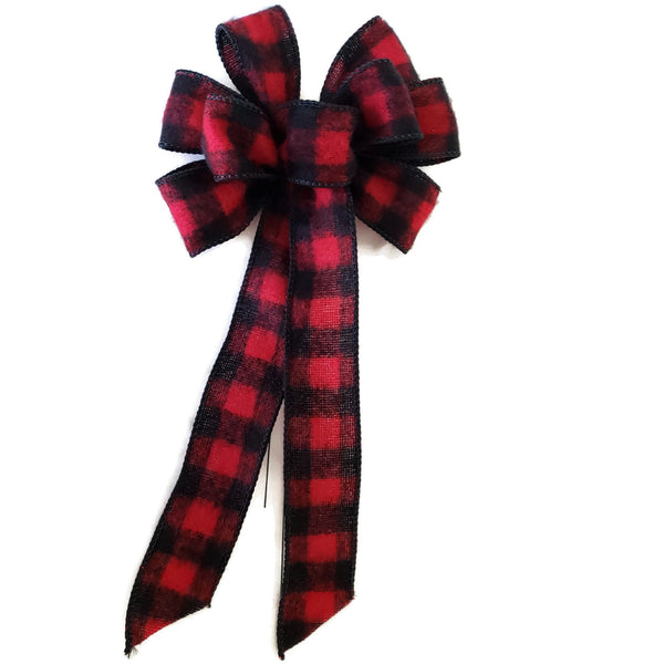 "SMALL 5-6"" Wired Red & Black Buffalo Plaid Christmas Bow"