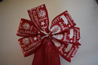"10"" Wired Red And White Country Wreath Bow"