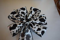 "10"" Wired Black and White Holstein Cow Spot Wreath Bow"
