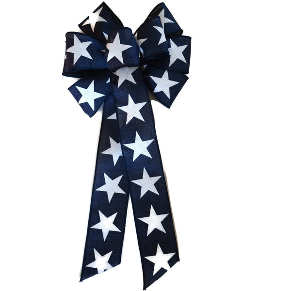 "10""  Wired Dark Blue and White Stars Wreath Bow"