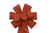 "10"" Large Wired Linen Rust Wreath Bow"
