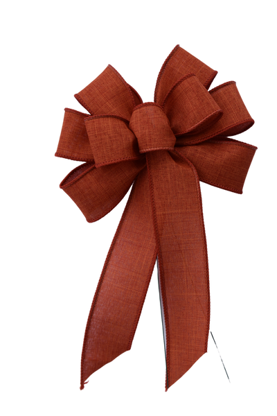 "Small 5-6"" Rust Linen Wired Bow"