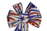 "Small 5-6"" Hand Made Patriotic Swirls and Stars Bow"