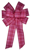 "Large 10"" Wired Pink Check Bow"
