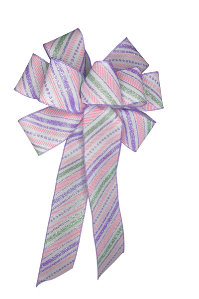 "Large 10"" Wired Pink and Purple Glitter Stripe Bow"