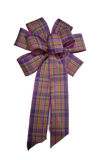 "Large 10"" Wired Pink, Purple, and Green Plaid Bow"