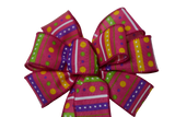 "Small 5-6"" Hand Made Colorful Pink Stripes and Dots Bow"