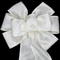 "Small 5-6"" Wired Faux Silk Ivory Wreath Bow"