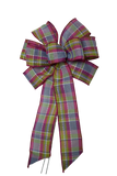 "Small 5-6"" Hand Made Pink, Green, and Blue Plaid Bow"