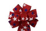 "10""  Wired Glitter Stars on Red Linen Wreath Bow"