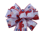 "10""  Wired Red Truck with Flag on White Ribbon Wreath Bow"