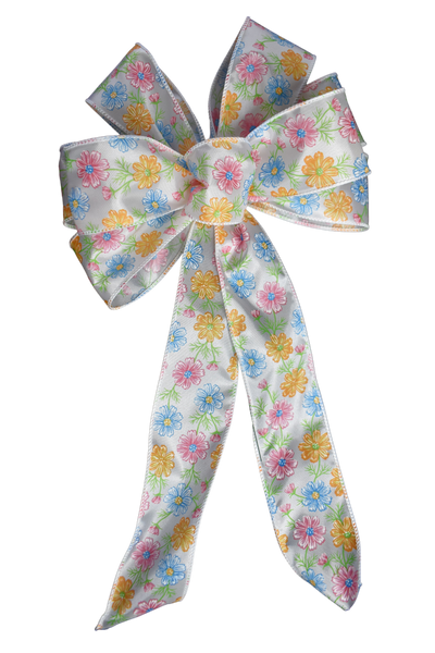 "10""  Wired Colorful Spring Flowers Bow"