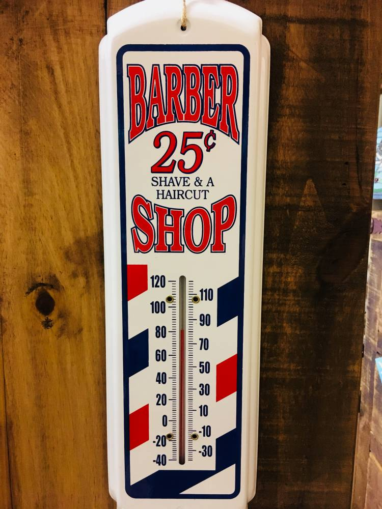 Barber Shop Metal Thermometer Indoor / Outdoor - Home & Garden