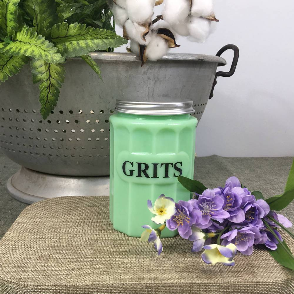 Country Grits Canister - Jadeite Green Glass - Vintage Kitchen