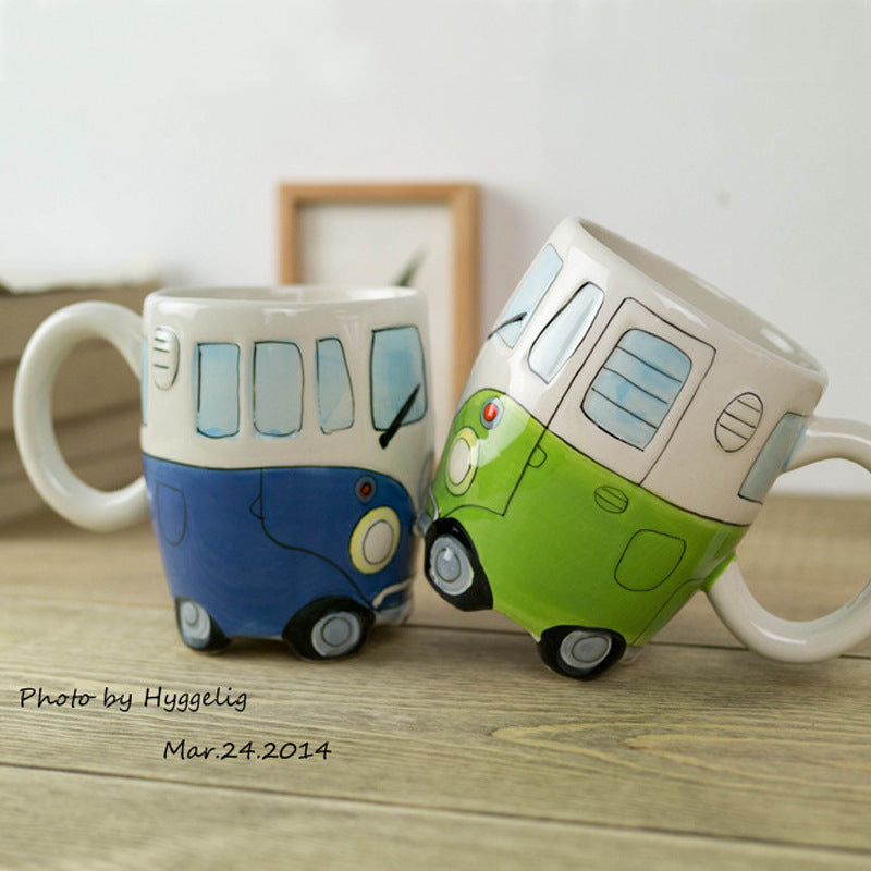 Hand painted Cute Ceramic Bus Coffee Mugs - Retro Campers (4 COLORS)