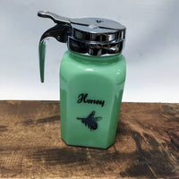 Honey Pour Dispenser in Jadeite Green Glass - Farmhouse Kitchen