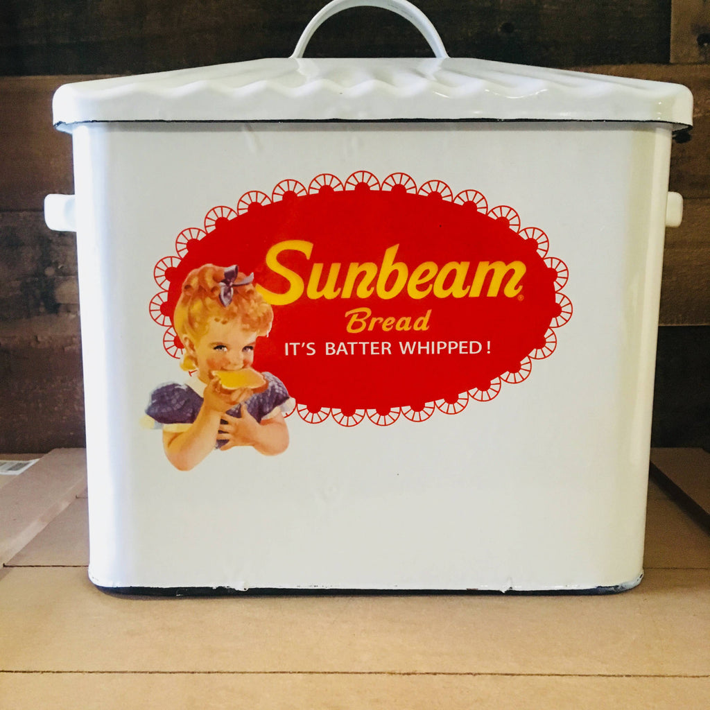 Large Bread Box - Sunbeam White Porcelain Enamel - Vintage Kitchen
