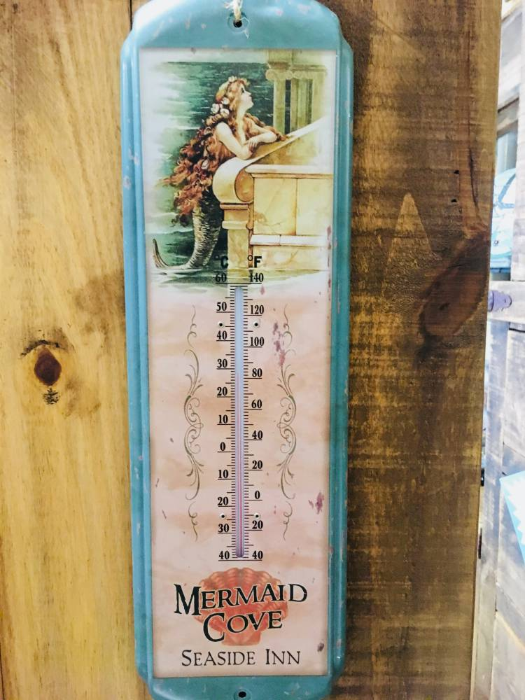 Mermaid Metal Thermometer Indoor / Outdoor - Vintage Beach Home