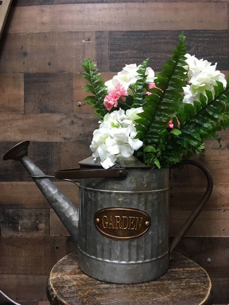 Large Metal Garden Label Watering Can Flower Arrangement - Home Decor