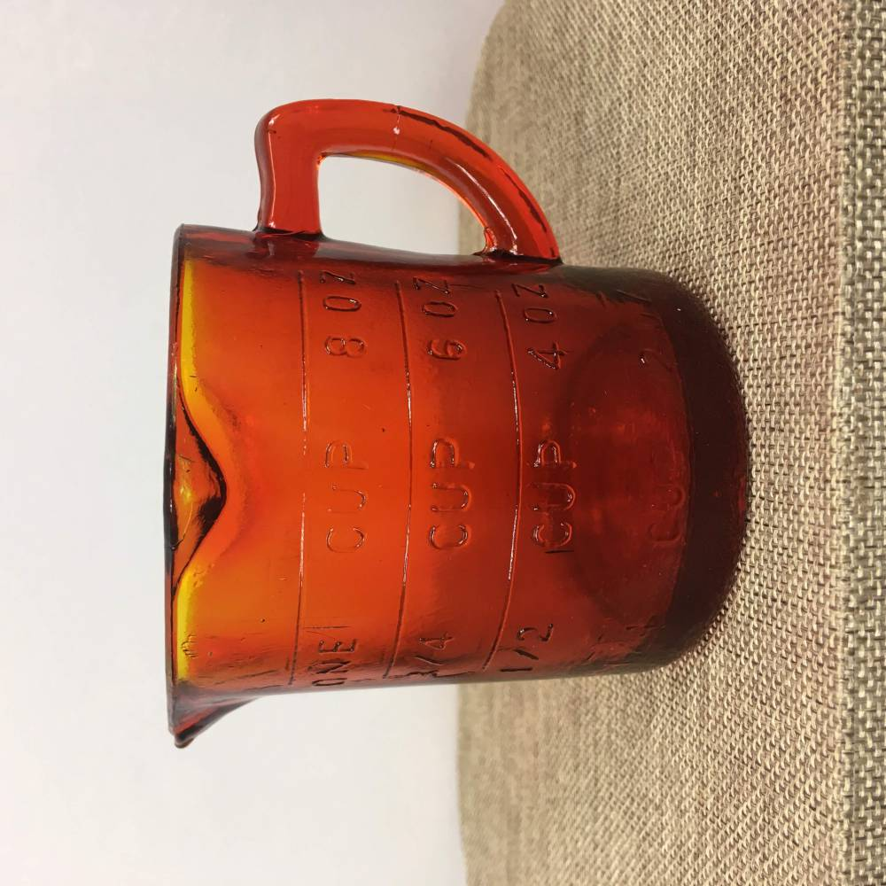 Red Orange Glass Measuring Cup - 1 cup / 8 ounces - Vintage Kitchen