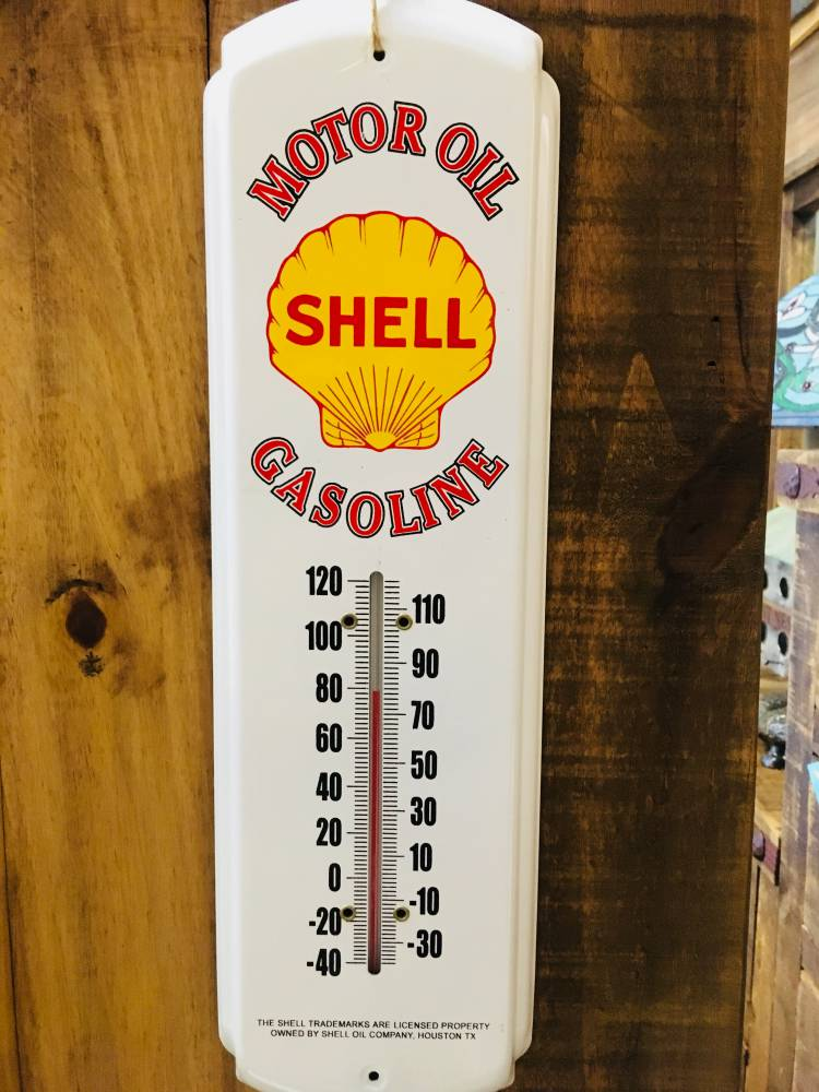Shell Oil and Gas Metal Thermometer Indoor / Outdoor - Vintage Home