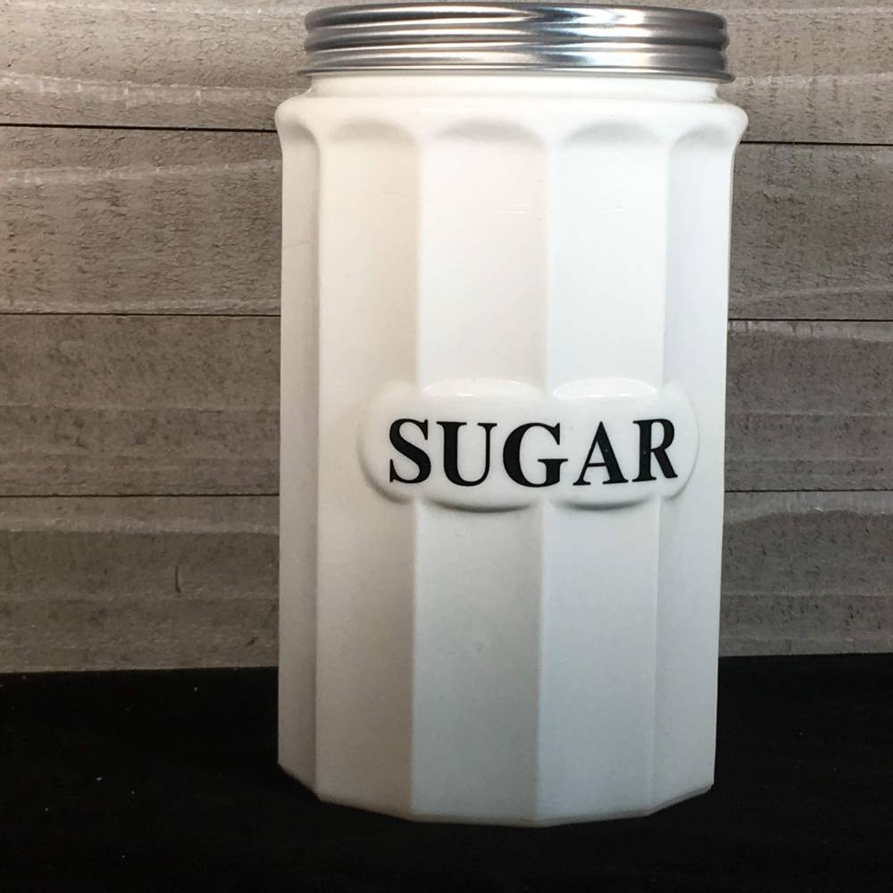 Sugar Canister - White Milk Glass - Vintage Kitchen Food Storage