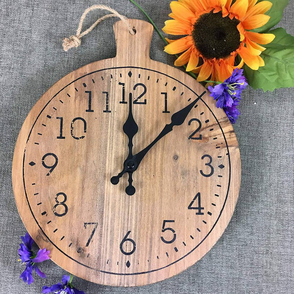 Wooden Pizza Peel Clock - Round Cutting Board - Country Kitchen