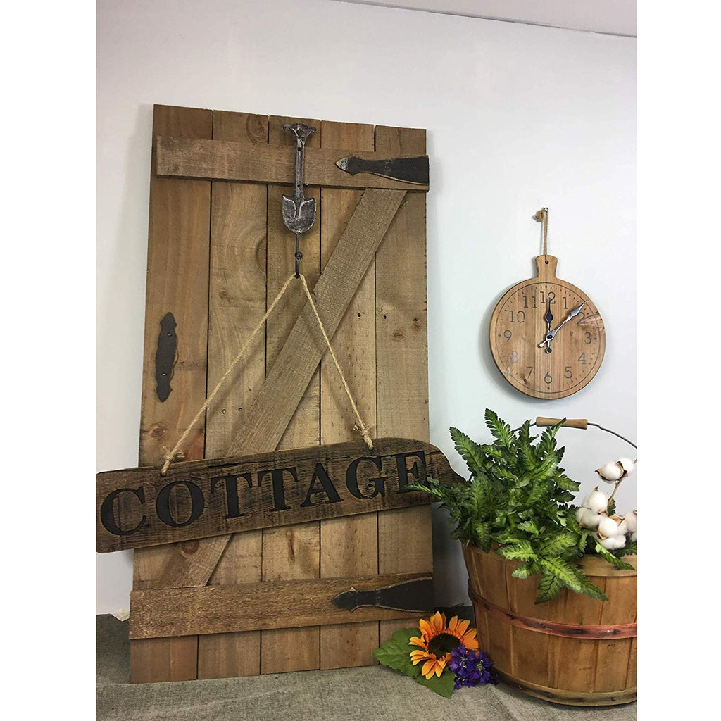 Rustic Wood Wall Hook - Decorative Door with Garden Shovel Design