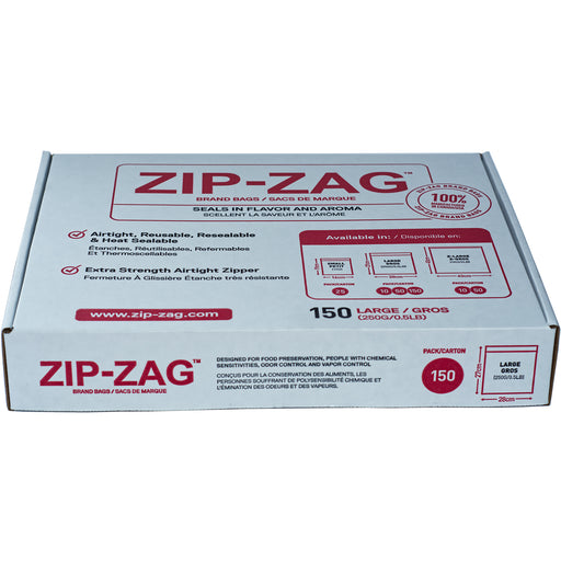 Zip Zag Bag Large Smell Proof Reusable Bag - 1/2 lbs (150 pack)