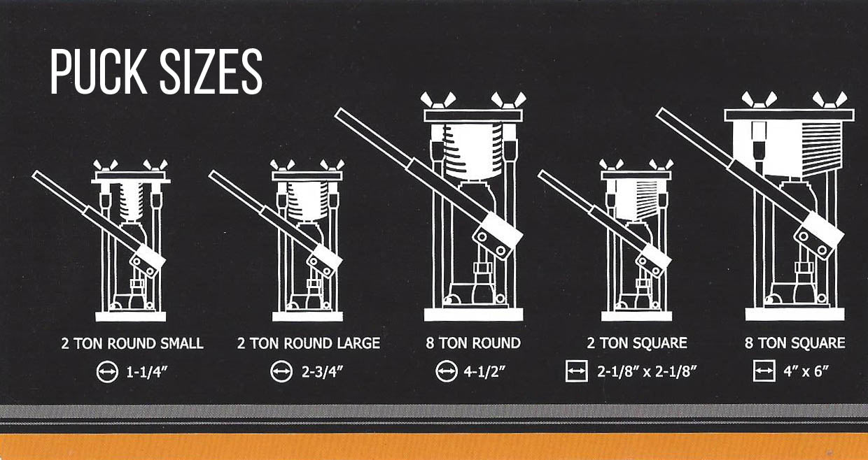 Jack Puck Press Sizes