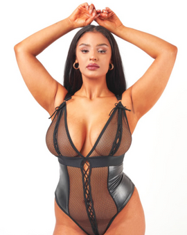Wet look PVC style, this super sexy black body sculpts your curves and highlights your silhouette to tease and tempt your partner - available in X Small - 5XL